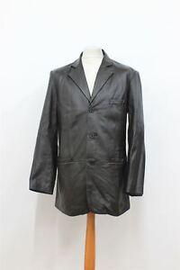 Størrelse S læder Langærmet Longline Mænds Balmain mørkebrune Coat Collared F8qvpx0wx