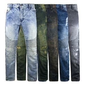 MENS-JEANS-biker-DENIM-Fashion-ZIPPER-Designed-SLIM-Fit-Biker-Distressed-PANTS