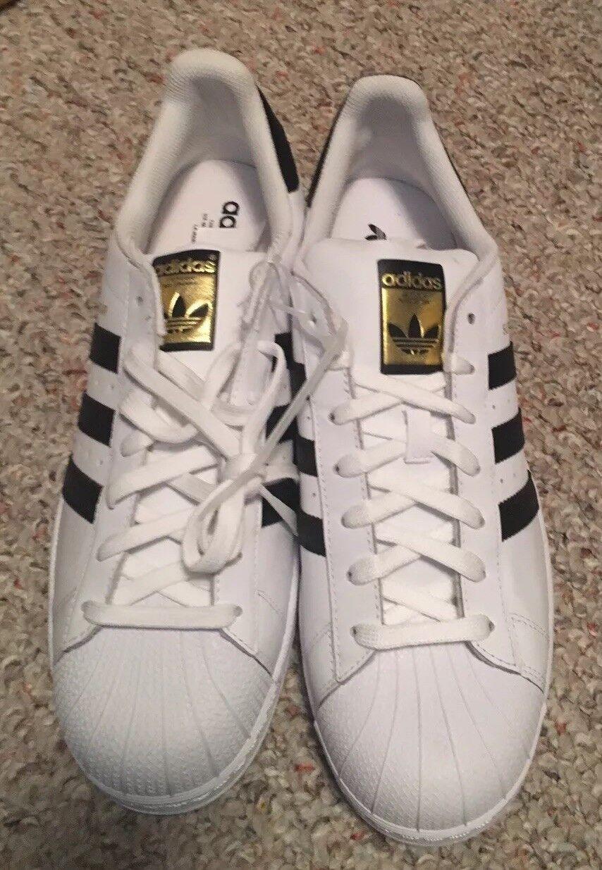 New Mens Adidas Superstar Adidas Originals White Black C77124