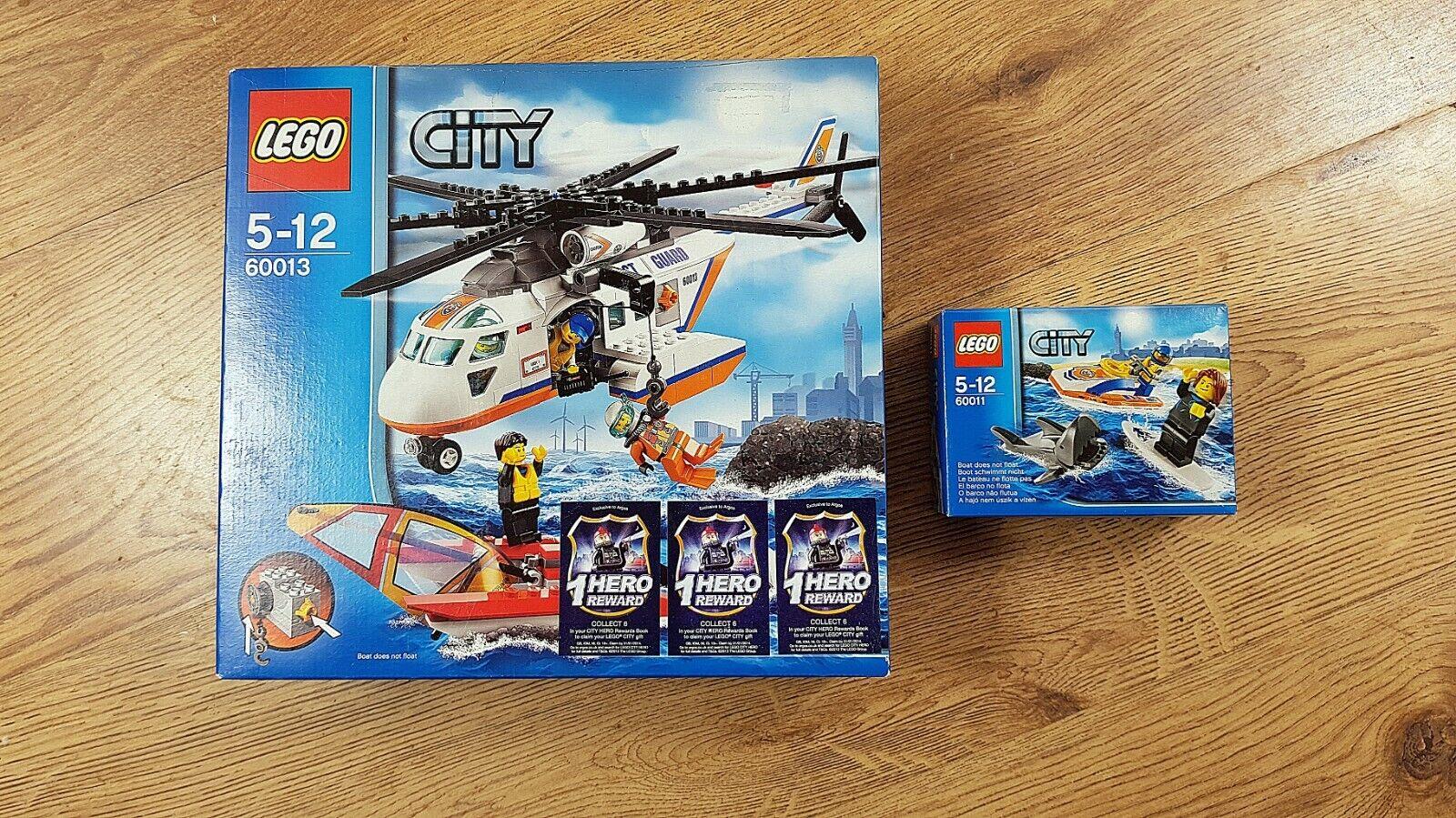 LEGO città 60013 Elicottero Guardia Costiera &  60011 Surfer Rescue   nuovi, non aperto  solo per te