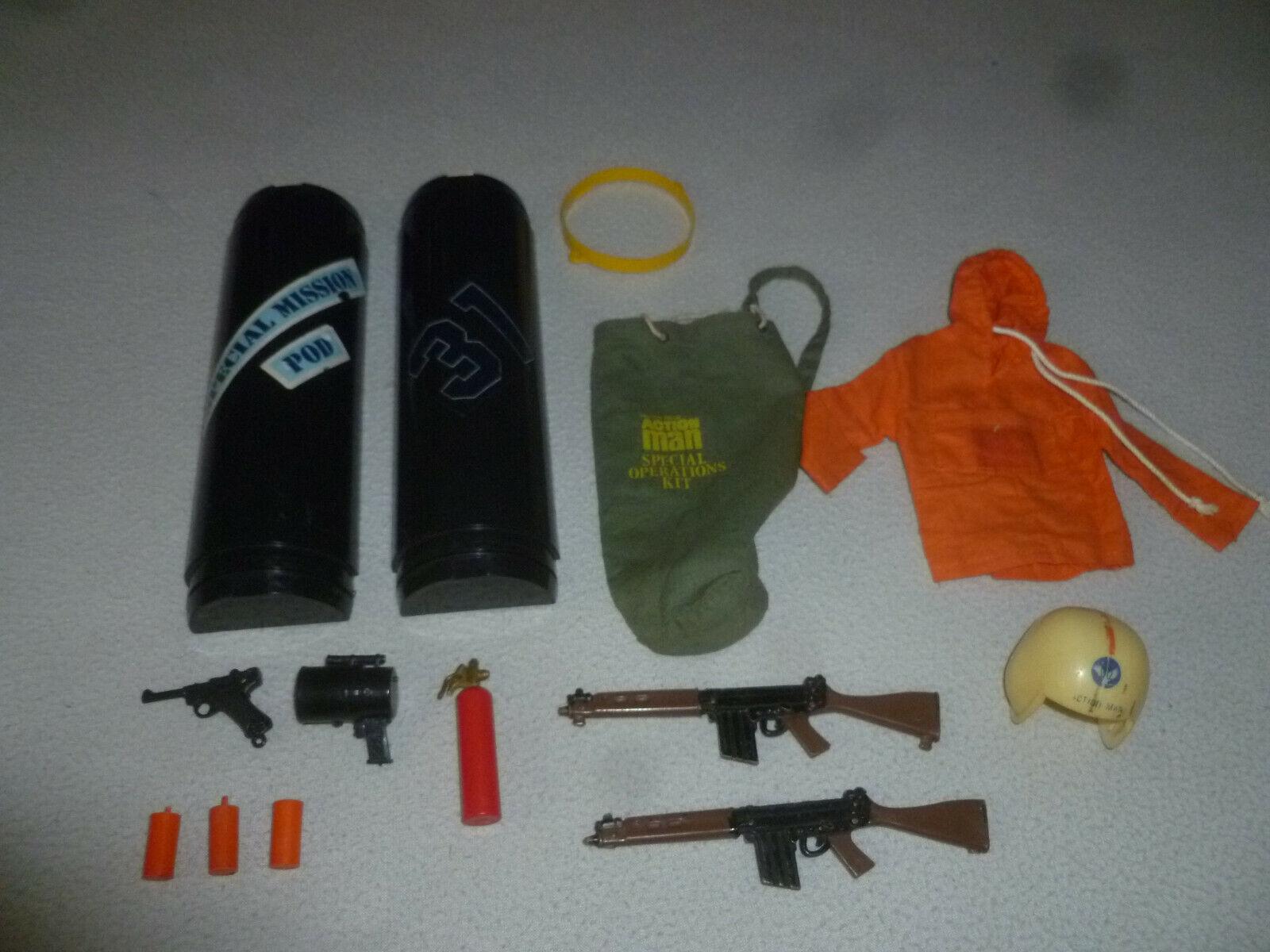 Jahrgang GI JOE PALISpielzeug Wirkung MAN besondere MISSION POD 1970S HELMET GUN COAT BAG