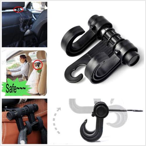 Black Car Seat Back Headrest Dual Hook Holder Hanger Fit For Bag Purse Clothes