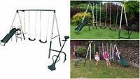 Slide And Swing Sea Saw Play Area Set Outdoor Kids Garden Children Metal Steel