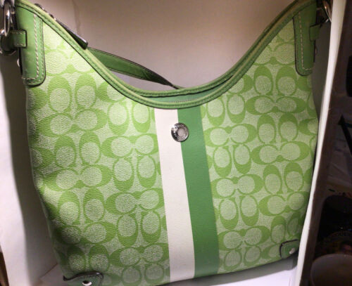 Authentic Coach Signature Lime Green Leather Shoul