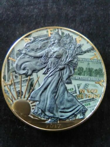 2017 American Silver Eagle BENJAMIN/'S Colorized Gold Gilded Antique Finish coin