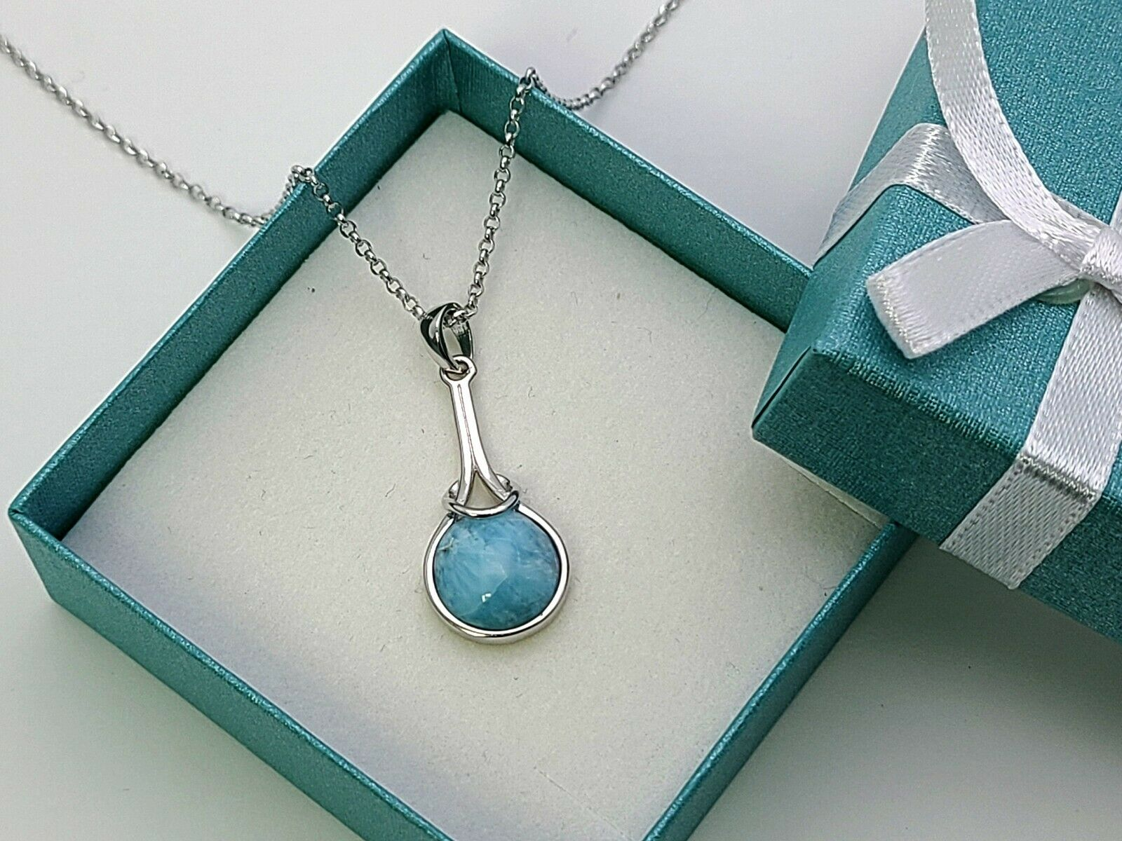 silver iolite necklace larimar iolite necklace Dominican larimar necklace larimar gemstone jewellery half bezel setting ET12N015