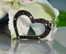 Bezaubernd: Schwarze Diamanten Herz Anhänger, 0,23 cts. WG-585, 540,00€