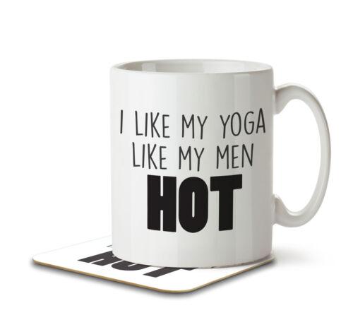 I Like My Yoga Like My Men HOT Mug and Coaster by Inky Penguin