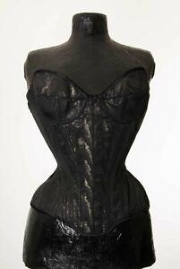 """aurora"" overbust corset by maison moginot-black moiré silk"