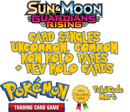 Rares /& Rev Holos Guardians Rising Pokemon Cards Selection Common Uncommon