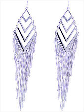12cm Egyptian style silver coloured tassel chandelier earrings
