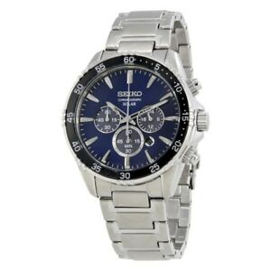 Seiko SSC445 WR100m Blue Mens Solar Chronograph Watch RRP $795.00