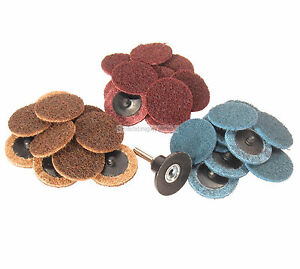 """50Pc 36 Grit 2/"""" Roloc Type R//O Roll On Lock Sanding Disc w// Mandrel Made in USA"""