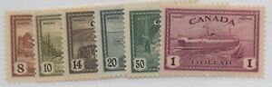 Canada-Sc-268-73-1946-Peace-stamp-set-mint-NH-Free-Shipping