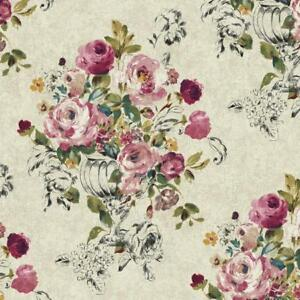 Wallpaper-Large-Floral-in-Vase-Purple-Pink-Teal-Black-Green-Yellow-on-Cream-Faux