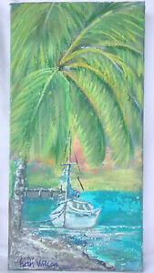 Hot-7x14-Original-Acrylic-Painting-Palm-Tree-Boat-Beach-Tropical-Decor-Wall-Art