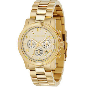 New michael kors runway gold stainless steel chronograph mk5055 image is loading new michael kors runway gold stainless steel chronograph gumiabroncs Gallery