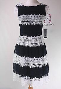 Karl-Lagerfeld-Paris-Striped-Lace-Cap-Sleeve-Dress-LD7L2874-Sz-2-4-6-8-12-14-NWT