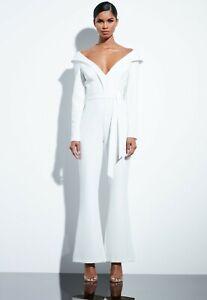 Missguided-Lapel-Detail-Bardot-Flare-Leg-Jumpsuit-size-4-and-8