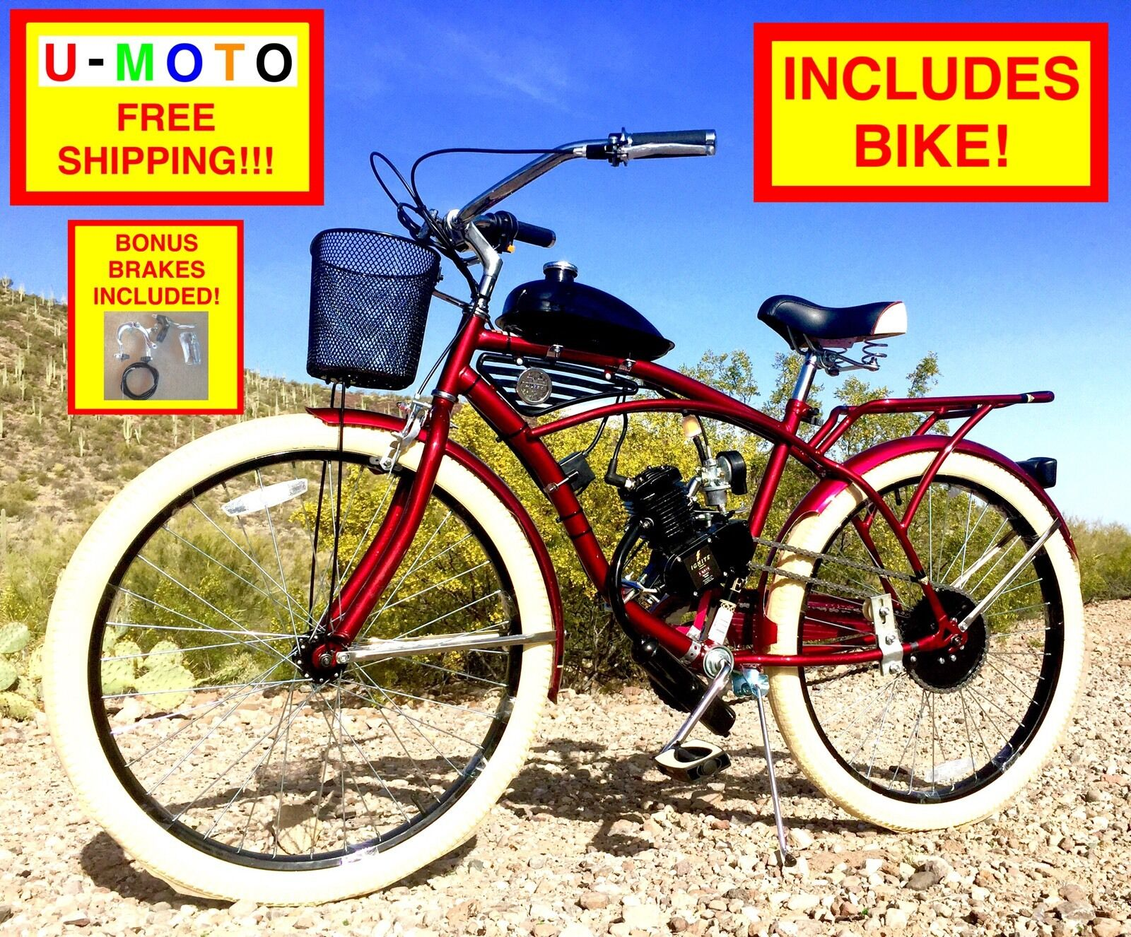 80CC 2-STROKE BICYCLE MOTOR COMPLETE DIY MOTORIZED BICYCLE KIT WITH 26  BIKE