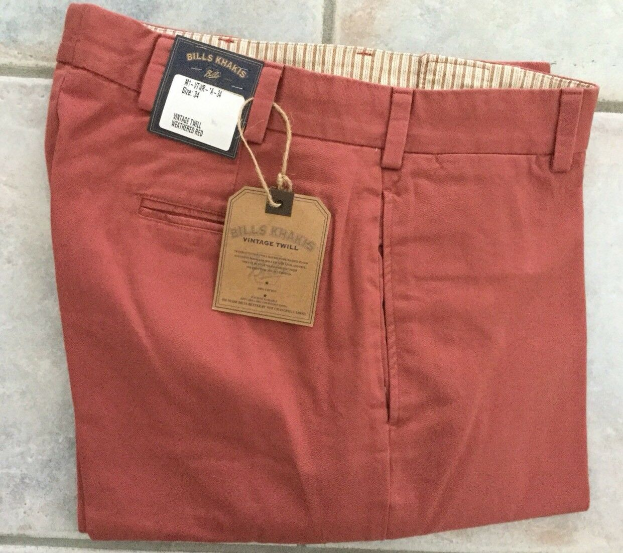 NWT-Bills khakis M1-VTWR Size 34 PLAIN VTG TWILL Relaxed WEATHERED RED
