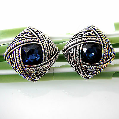 Vintage Tibetan Silver Blue Crystal Rhinestone Leaves Ear Stud Earrings BH2627