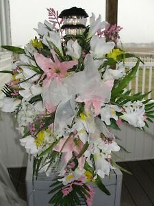 Standing-Cemetery-Grave-Pillow-with-Solar-Light-Multi-Color-Silks-Lilies