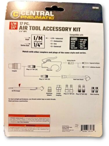 17 Pc Air Tool Accessory Kit Quick Connect Coupler and Air Gun
