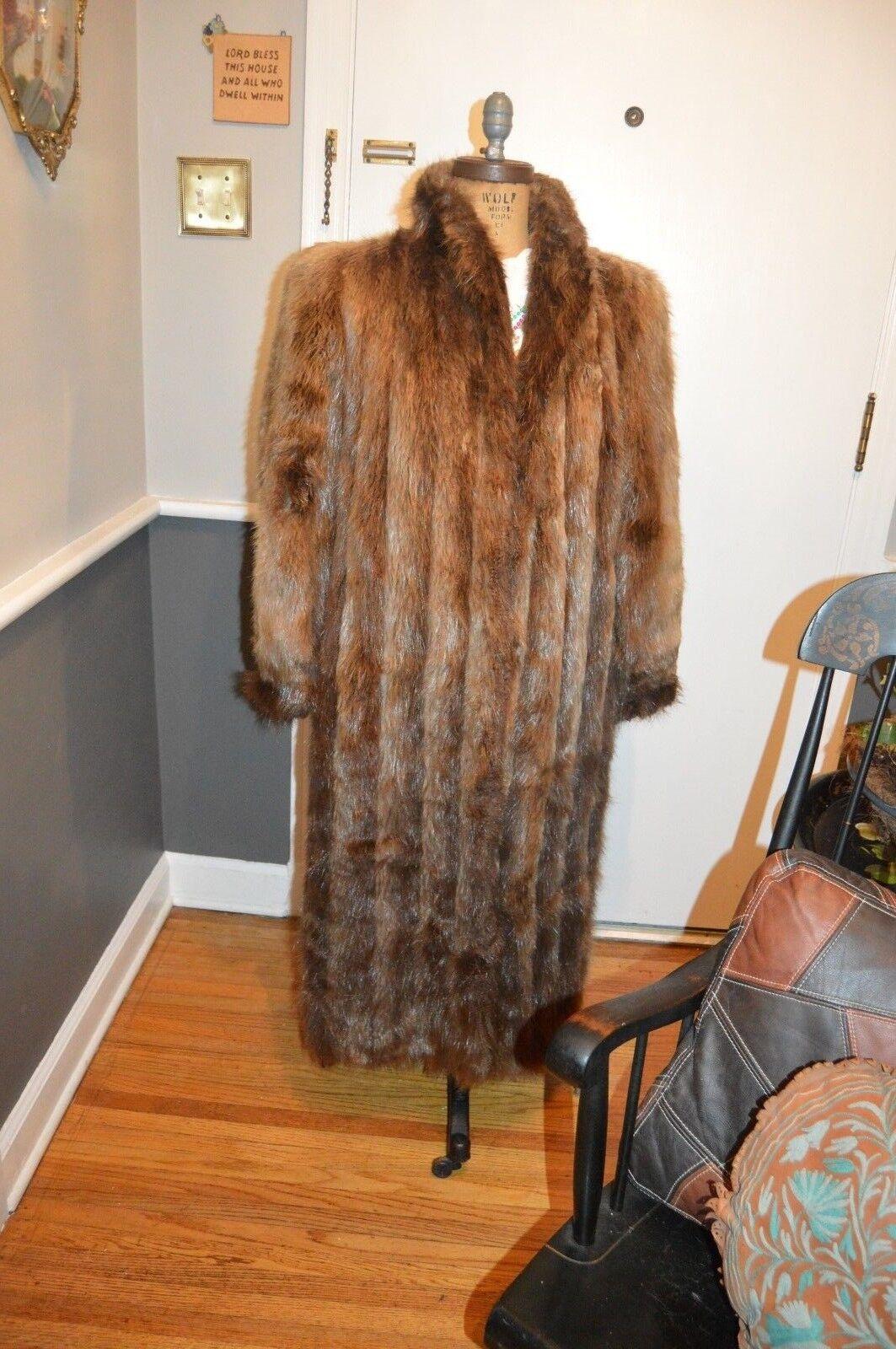 Brown beaver fur long coat