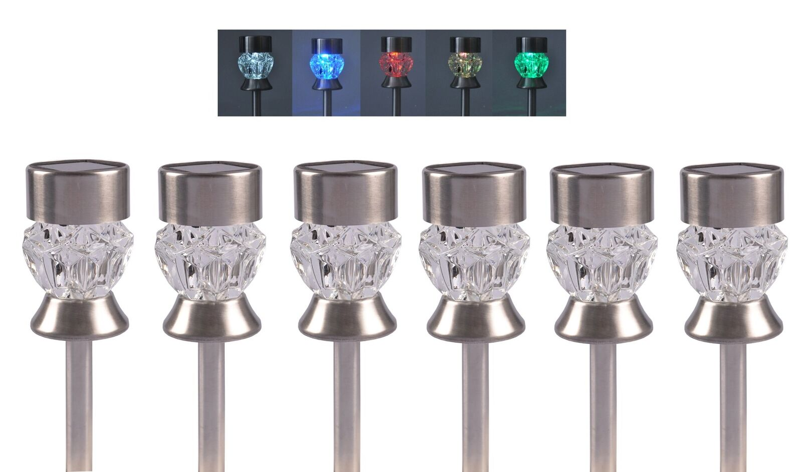 Luces solares diamante cambiador 6er-set lámparas solares jardín lámpara lámpara solar