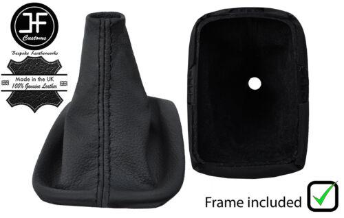 Black Stitch REAL LEATHER GEAR GAITER avec cadre en plastique pour VOLVO S40 04-2012