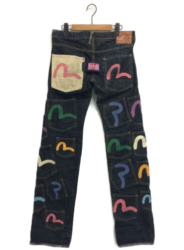 """EVISU /  """"KAMOME""""painted Multi pocket denim pants"""