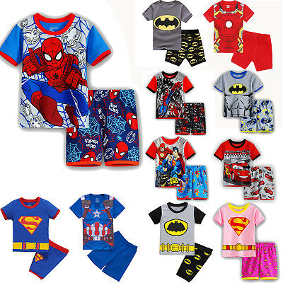 Kids Boys Girls Short Sleeve Cartoon Characters Nightwear Pyjamas Pjs Set 2 8 Y Ebay