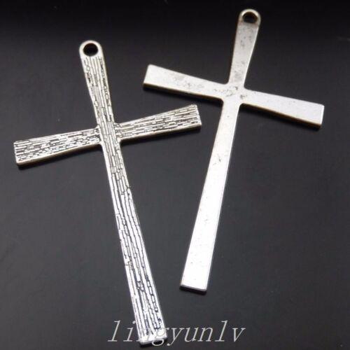 20 Pieces argent ancien Alliage 60x30mm Croix en forme de Charms Pendentifs 39842