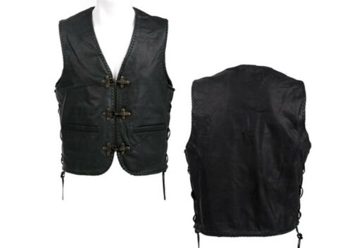 Gilet in Pelle Vintage Leather Vest Gilet Pelle Biker Rockabilly tonaca Club Gilet