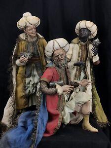 Re-Magi-Tris-Kings-35-Cm-Presepe-Napoletano-Krippe-Figure-Creche