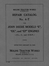 John Deere Model E Ek Ep Repair Catalog No 4 T