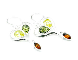 Beautiful-925-Sterling-Silver-amp-Baltic-Amber-Designer-Earrings-SilverAmber-M609