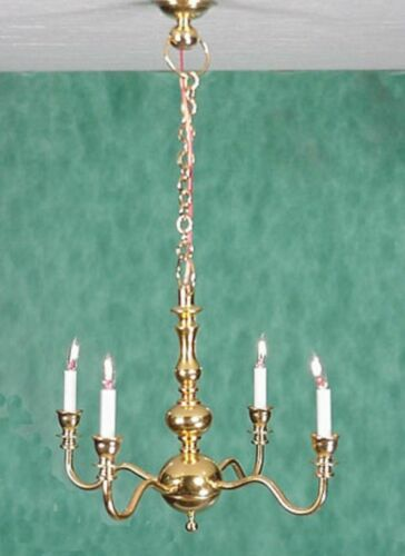 Dollhouse Miniature 4 Arm Chandelier by Clare-Bell Brass