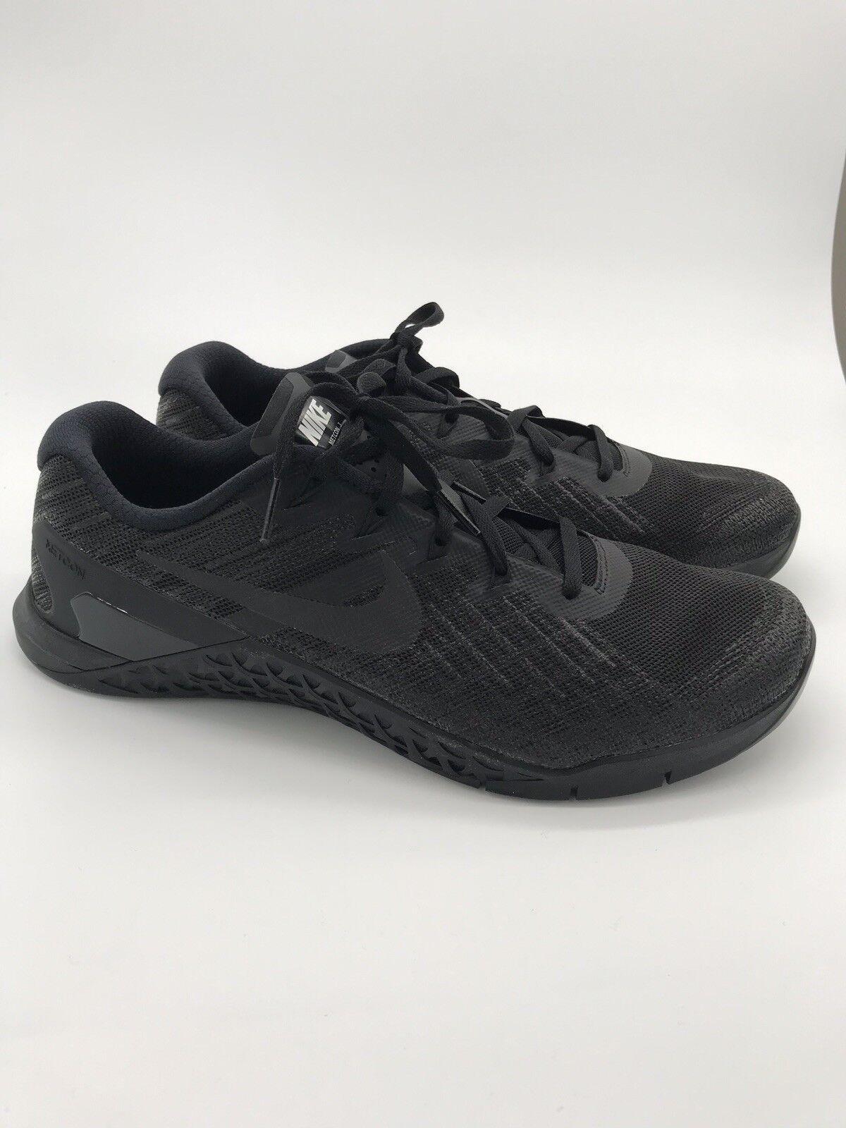 Mens Nike Metcon 3 Triple Black size 9.5 852928-002 Cross Training No Box 490
