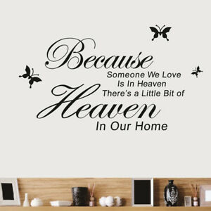 Because Someone We Love Is In Heaven Wall Sticker Vinyl Decal Mural Home Decor Ebay
