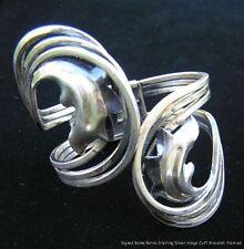 Vintage Retro Signed Rame Modernist Silver Color Hinge Cuff Bracelet