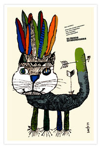 Spanish-movie-Poster-4-film-034-INDIAN-Cat-034-Children-Room-art-Kitty-Apache-Colorful