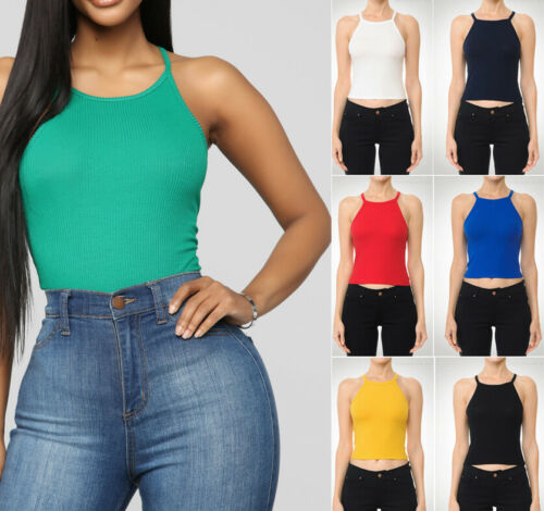 Women/'s High Neck Crop Tank Top Solids Basic Stretch Casual Fitted Cami Halter