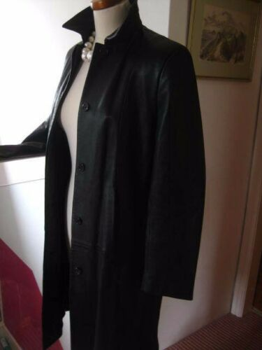 Black M Classic Real Long 14 Uk amp;s Ladies Trench Jacket Coat 16 Leather Line Size TIqf1WRxw