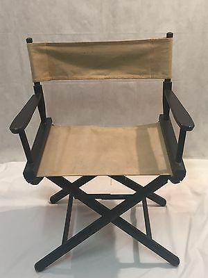 Vintage Directors Chair Folding GOLD MEDAL Black Wood Tan Canvas Retro Mid  Cent