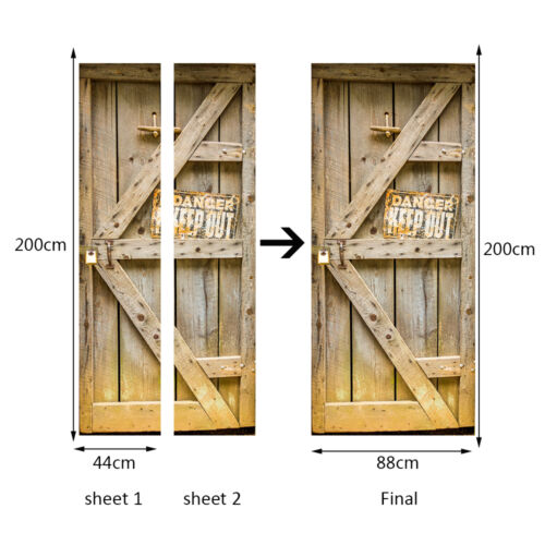 Europe Size 88cm Door Mural Timber Home Decoration Self-Adhesive Stickers