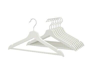 16 X In Legno Bianco Grucce Armadio Organizer Indumenti Hanger Panni Vestiti Cappotto-