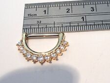 Gold Titanium Straight Barbell Nipple Half Hoop Ring Clear CZ 14 gauge 14g