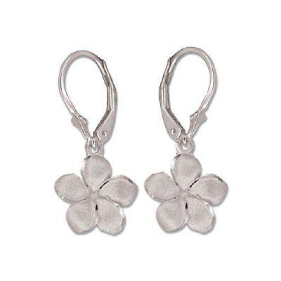 Round D//VVS1 Hawaiian Plumeria Flower Stud Earrings 14K White Gold Over Sterling